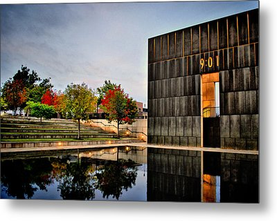 Solemn Reflections - Okc Memorial Metal Print by Gregory Ballos