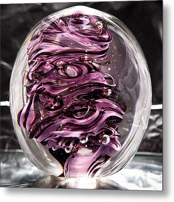 Solid Glass Sculpture Rp5 - Purple And White Metal Print by David Patterson