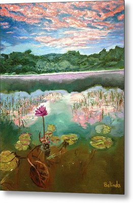 Metal Print featuring the painting Solitary Bloom by Belinda Low