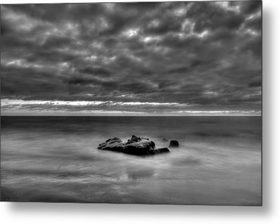 Solitary Rock - Black And White Metal Print by Peter Tellone