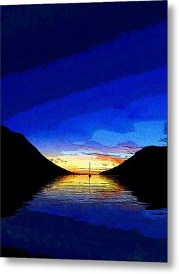 Solitary Sailboat Sunrise Metal Print by Anne Mott