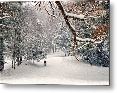 Solitary Skier At Otis Ridge Metal Print