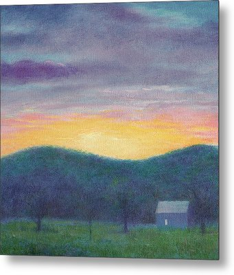 Blue Yellow Nocturne Solitary Landscape Metal Print by Judith Cheng