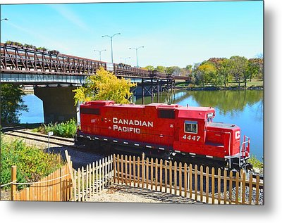 Solo Red Canadian Pacific Engine Along Rock River In Rockford Metal Print