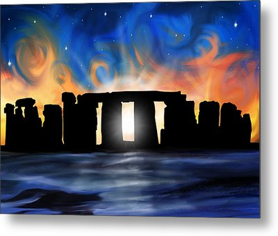 Solstice At Stonehenge  Metal Print by David Kyte