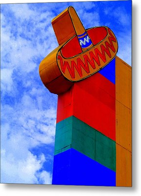 Sombrero Sign Metal Print by Randall Weidner