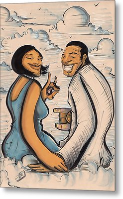 Metal Print featuring the drawing Some Blue And White Love by Tu-Kwon Thomas