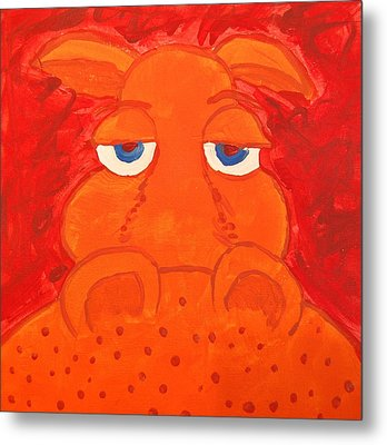 Some What Annoyed Orange Hippo Metal Print by Yshua The Painter