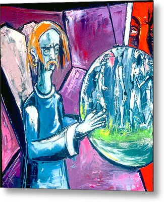 Metal Print featuring the painting Somebody Bigger Has Control Of You Who In Turn Is Under The Control Of Somebody Bigger by Kenneth Agnello