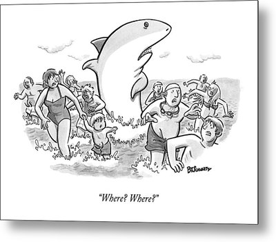 Someone Has Just Yelled Shark! At The Beach Metal Print