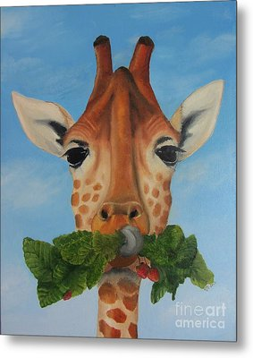 Someone Is Eating My Garden Metal Print by Pam Fries