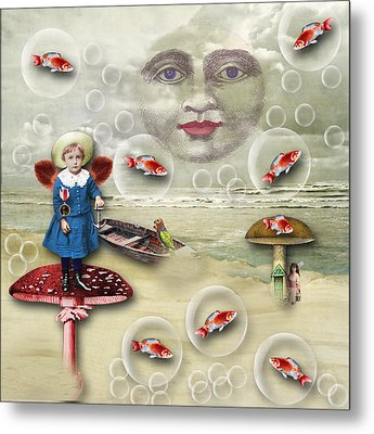 Something Fishy At The Shore Metal Print
