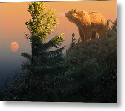 Something On The Air - Grizzly Metal Print by Aaron Blaise