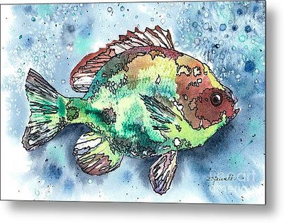 Metal Print featuring the painting Something's Fishy Two by Barbara Jewell