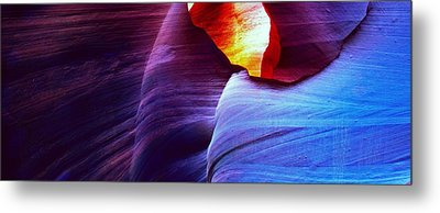 Metal Print featuring the photograph Somewhere In America Series - Blue In Antelope Canyon by Lilia D