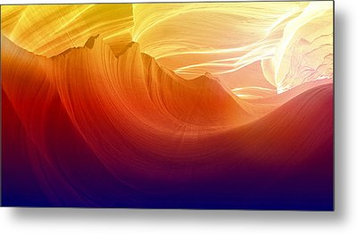 Metal Print featuring the photograph Somewhere In America Series - Colorful Light In Antelope Canyon by Lilia D