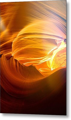Metal Print featuring the photograph Somewhere In America Series - Gold Colors In Antelope Canyon by Lilia D