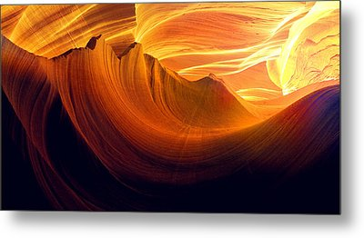 Metal Print featuring the photograph Somewhere In America Series - Golden Yellow Light In Antelope Canyon by Lilia D