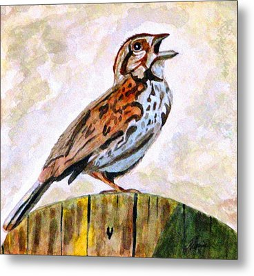 Metal Print featuring the painting Song Sparrow by Angela Davies