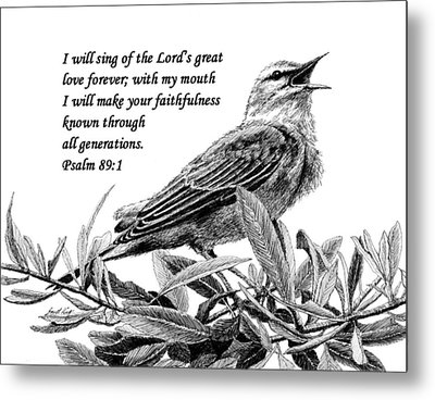 Songbird Drawing With Scripture Metal Print by Janet King