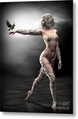 Metal Print featuring the digital art Songbird by Sandra Bauser Digital Art