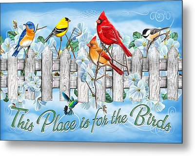 Songbirds Fence Metal Print