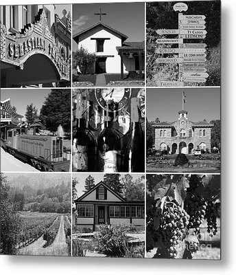 Sonoma County Wine Country 20140906 Black And White Metal Print