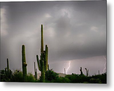 Sonoran Monsoon Lightning Thunderstorm Delight Metal Print