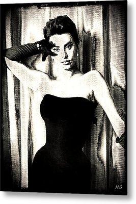 Sophia Loren - Black And White Metal Print