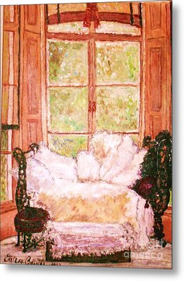 Metal Print featuring the painting Sophia's Sofa by Helena Bebirian