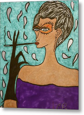 Metal Print featuring the drawing Sophisticada by Chrissy  Pena