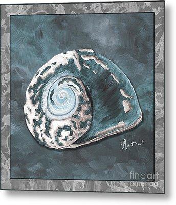 Sophisticated Coastal Art Original Sea Shell Painting Beachy Sea Snail By Megan Duncanson Of Madart Metal Print by Megan Duncanson