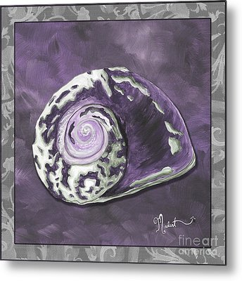 Sophisticated Coastal Art Original Sea Shell Painting Purple Royal Sea Snail By Madart Metal Print by Megan Duncanson