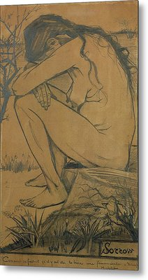 Sorrow, 1882 Pencil, Pen And Ink Metal Print by Vincent van Gogh