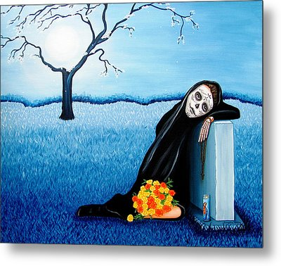 Metal Print featuring the painting Sorrow And Hope by Evangelina Portillo