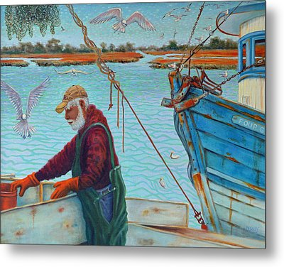 Sorting Shrimp At Frogmore 2 Metal Print by Dwain Ray