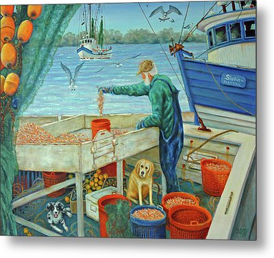Sorting Shrimp At Frogmore Metal Print by Dwain Ray