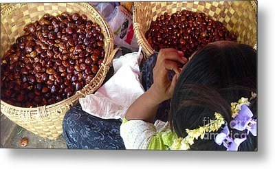 Metal Print featuring the photograph Sorting Water Chestnuts Zay Cho Street Market 29th Street Mandalay Burma by Ralph A  Ledergerber-Photography