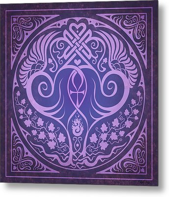 Soul Mates - Purple Metal Print