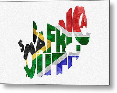 South Africa Typographic Map Flag Metal Print by Ayse Deniz