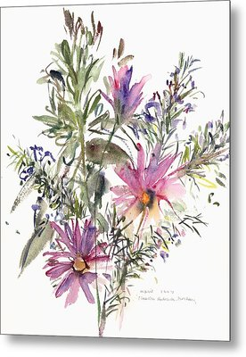 South African Daisies And Lavander Metal Print by Claudia Hutchins-Puechavy