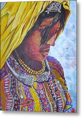 South American Woman Metal Print by Linda Vaughon