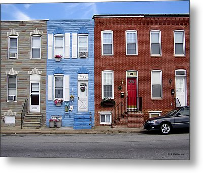 Metal Print featuring the photograph South Baltimore Row Homes by Brian Wallace