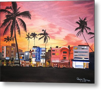 Metal Print featuring the painting South Beach Ocean Drive by Kevin F Heuman