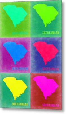 South Carolina Pop Art Map 2 Metal Print by Naxart Studio