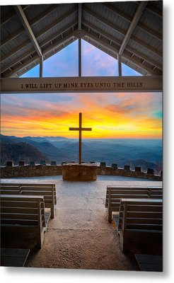 South Carolina Pretty Place Chapel Sunrise Embraced Metal Print by Dave Allen