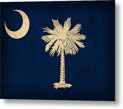 South Carolina State Flag Art On Worn Canvas Metal Print by Design Turnpike