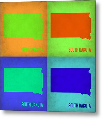 South Dakota Pop Art Map 1 Metal Print by Naxart Studio