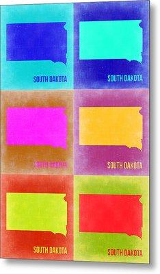 South Dakota Pop Art Map 2 Metal Print by Naxart Studio
