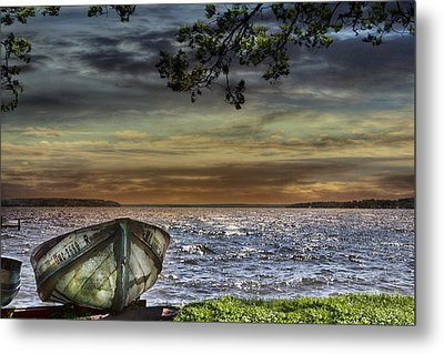 South Manistique Lake With Rowboat Metal Print by Evie Carrier
